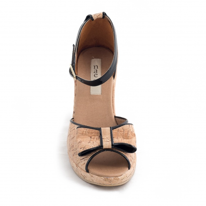 Nara Woman vegan ankle strap wedge sandal cork