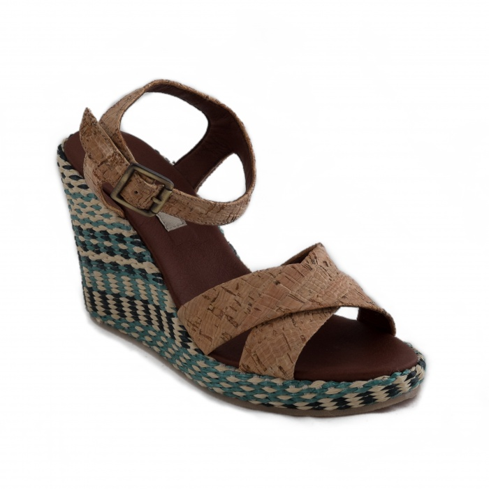 Miko Woman vegan ankle strap wedge sandal cork