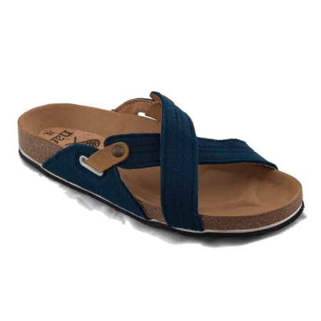 Paxos Blue Woman vegan sandal flat pet recycled plastic bottles
