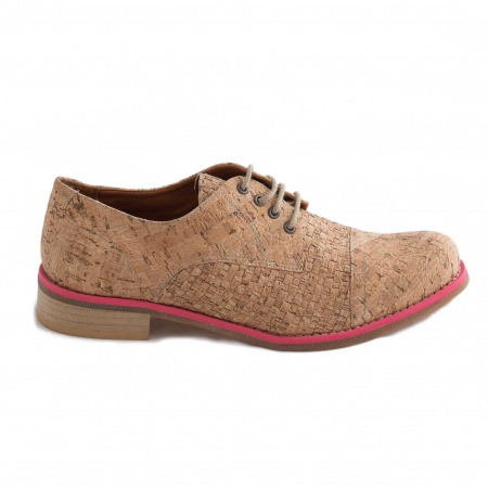 Diana Cork Pink Woman Vegan Lace-up Shoes