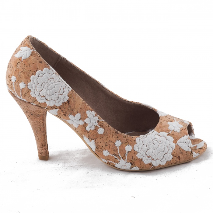 vegan Cork Peep Toe shoe woman