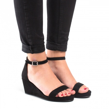 Woman vegan ankle strap wedge sandals