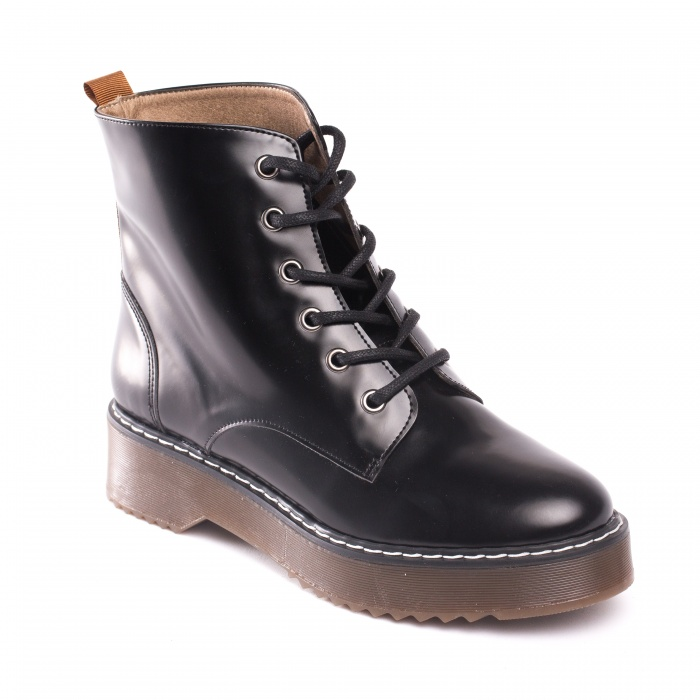 Trina Black woman vegan lace up boots