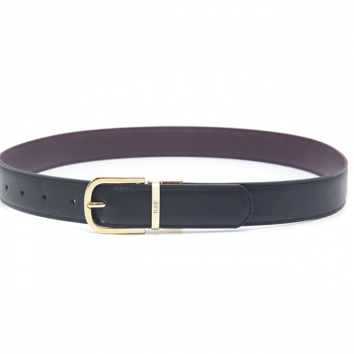 breda black brown belt woman golden buckle reversible vegan