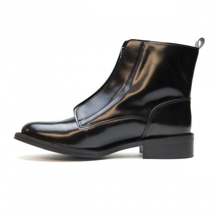 Zipme Black woman vegan ankle boots zipper