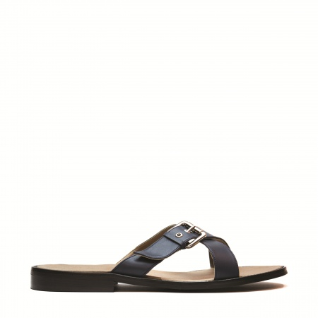Nicco man vegan flat sandal metal buckle blue