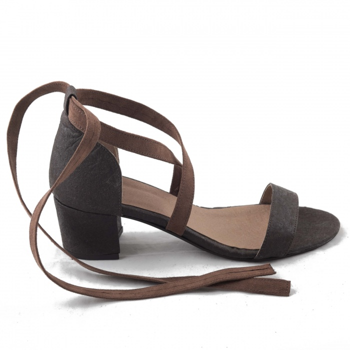 Clau Brown Woman vegan ankle strap sandals block heel piñatex