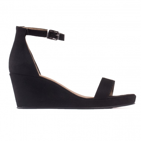Linda Black Woman vegan ankle strap wedge sandal