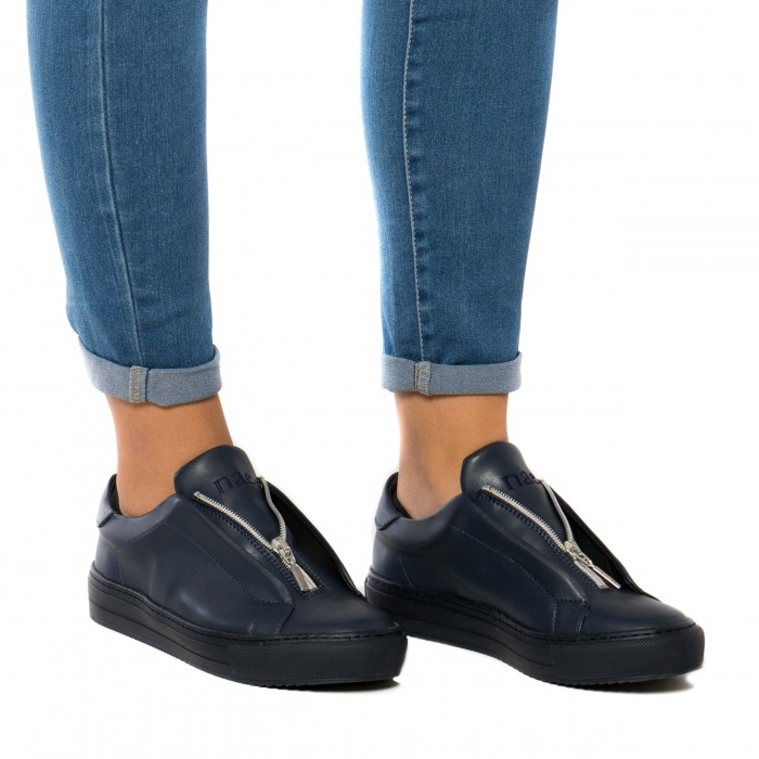 OnZip Blue Woman vegan sneaker zipper