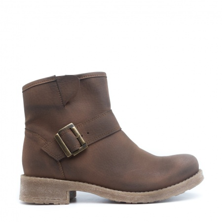 June woman vegan low barrel boot golden buckle