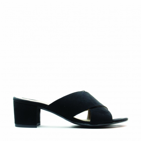 Anita Black woman vegan open back sandal block heel
