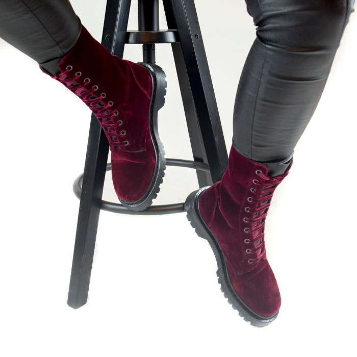 Velvet Bordeaux woman vegan lace up boots