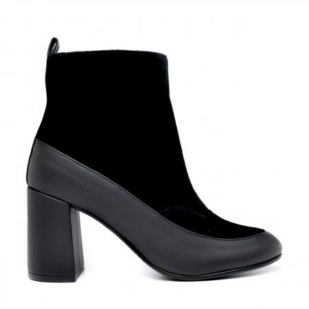 Paula Black woman vegan low rise boot block heel velvet ... b28a67a775