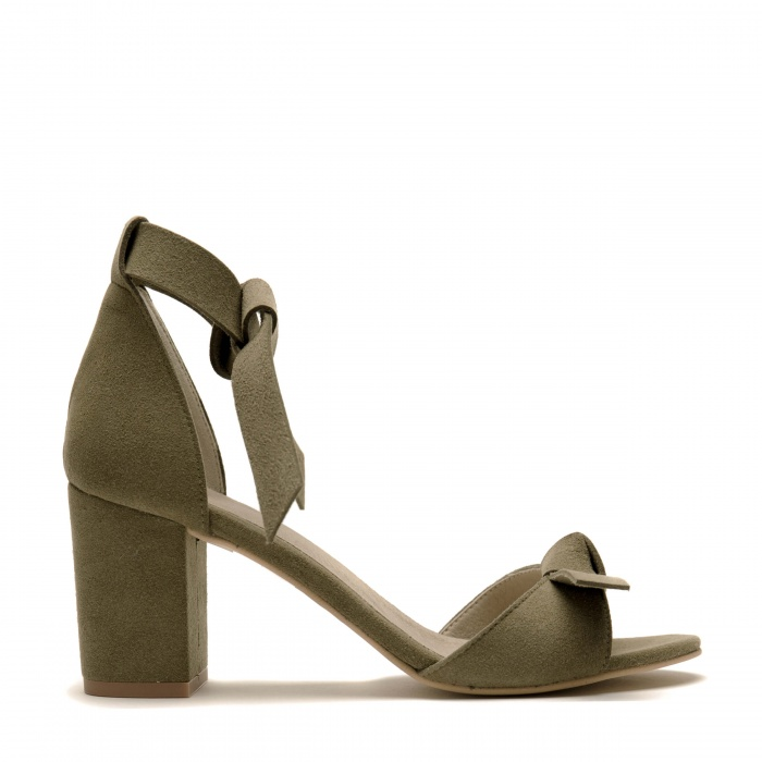 Estela Green Woman vegan ankle strap sandal block heel