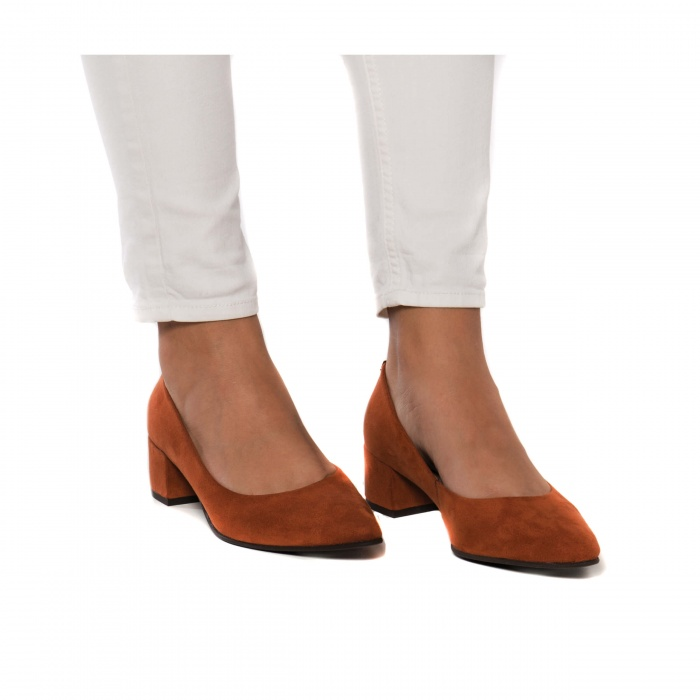 Malu Orange woman Vegan block heel shoes point toe