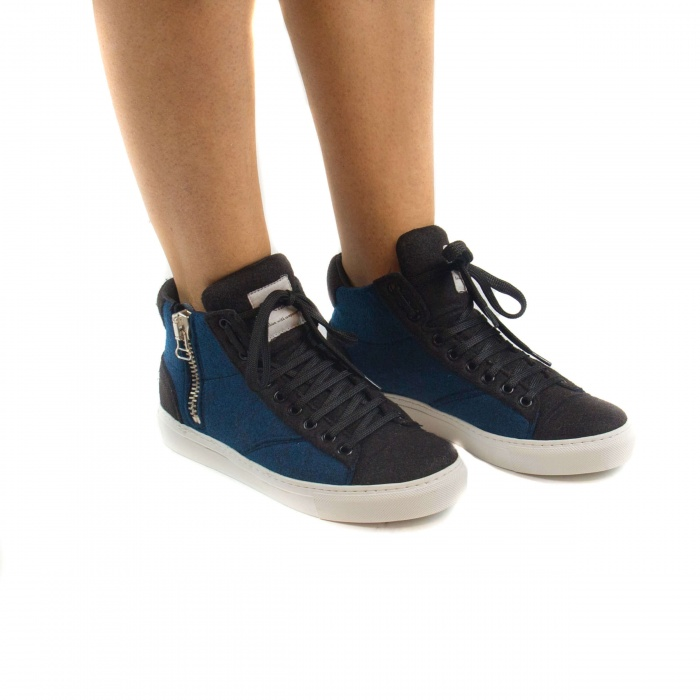 Milan Pet Blue Unisex vegan ankle sneakers