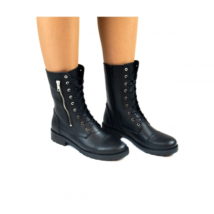 Zaira Black woman vegan medium barrel boot