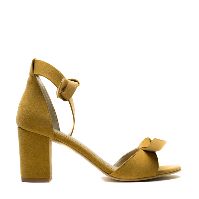Estela Yellow Woman vegan ankle strap sandal block heel