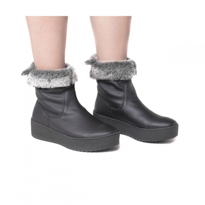 sonya black ankle boots woman platform synthetic fur vegan