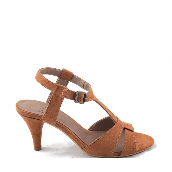 Bona Brown Woman vegan t-strap sandal kitten heel