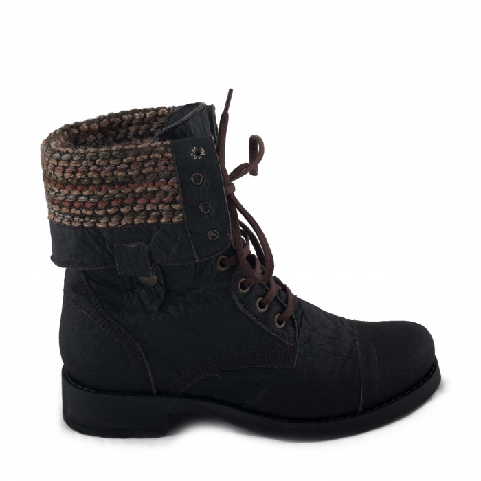 Woman vegan Lace-up Boot piñatex pineapple