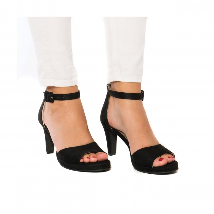 Regina Black woman vegan ankle strap sandal