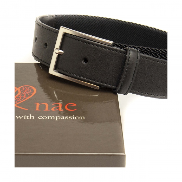 taull black grey belt man silver buckle braided surcingle vegan