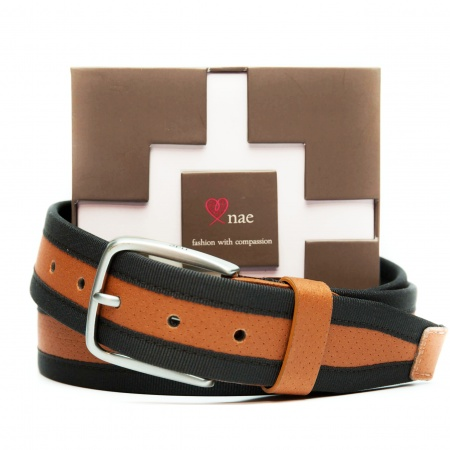olot brown belt man silver buckle vegan