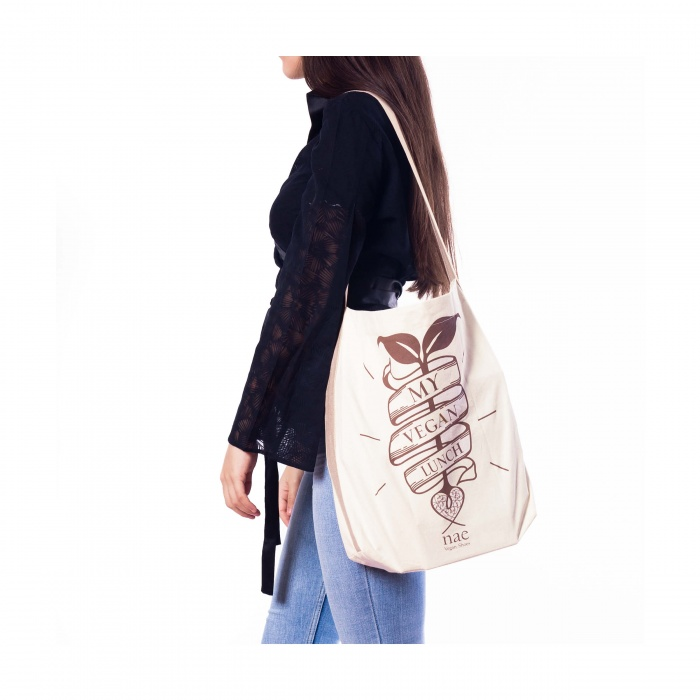 lunch organic cotton tote bag natural brown woman vegan