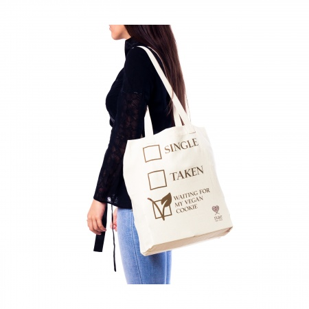 cookie organic cotton tote bag natural woman vegan
