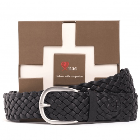 Vic black belt unisex silver buckle braided vegan